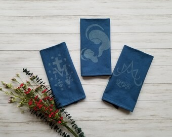 4031d8d85be Marian Tea Towel Gift Set. Hand Dyed. Bleach Dyed. Catholic Gift. Catholic  Kitchen. Catholic Decor. Ave Maria. Mama Mary. Miraculous Medal.