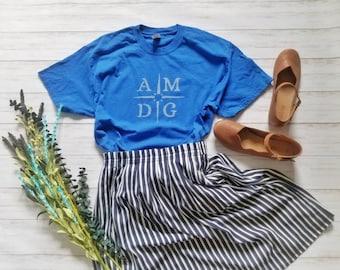 AMDG shirt. Ad Majorem Dei Gloriam shirt. For the Greater Glory of God. Jesuit motto. Bleach dyed shirt. Unisex adult shirt. Catholic shirt