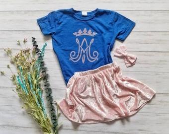 Auspice Maria shirt. Youth shirt. Toddler shirt. Bleach dyed shirt. Catholic shirt. Catholic gift. Catholic kids. Mary shirt. Ave Maria.