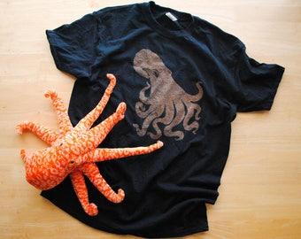 Octopus Shirt. Toddler Shirt. Youth Shirt. Kid's Shirt. Bleach Dyed Shirt. Realistic Octopus. Ocean Shirt. Marine Biology. Cephalopod Shirt.