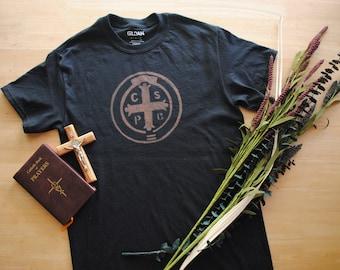 St. Benedict Shirt. Toddler Shirt. Youth Shirt. Catholic Shirt. St. Benedict Medal. Saint Shirt. Prayer Shirt. Catholic Kid. Benedict Cross.