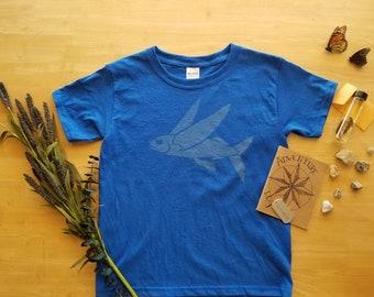 Flying Fish Shirt. Bleach Dyed Shirt. Kid's Shirt. Science Shirt. Ocean Shirt. Marine Biology. Nature Explorer. Deep Sea. Explorer Shirt.