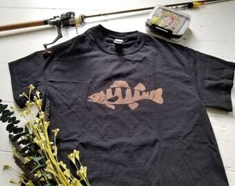 Yellow perch shirt. Youth shirt. toddler shirt. Kids shirt. Bleach dyed shirt. Fishing shirt. Kids fishing. Fishing gift. Boy girl fishing.
