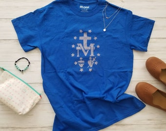 Miraculous Medal Shirt. Unisex Adult Shirt. Bleach Dyed Shirt. Marian Shirt. Mary Shirt. Catholic Shirt. Sacred Heart. Immaculate Heart.