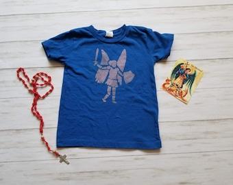 St. Michael shirt. Youth toddler shirt. Kids shirt. Bleach dyed shirt. Catholic shirt. Angel shirt. Saint Michael the Archangel. Protection.