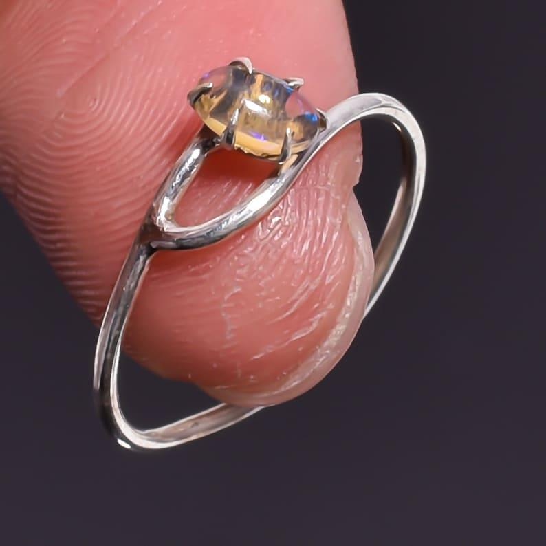 Terrific Ethiopian Opal Gemstone Ethnic Style 925 Sterling Silver Ring 4 US