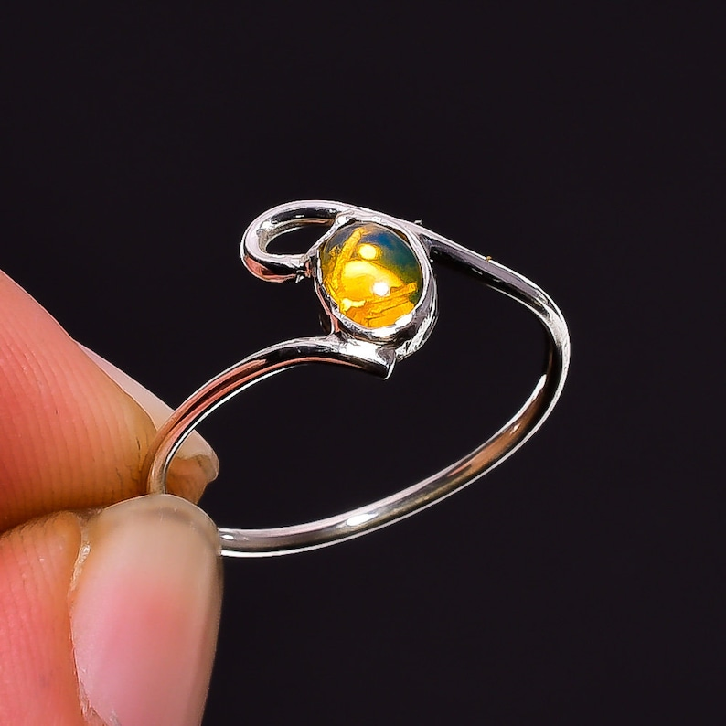 Natural Welo Fire Ethiopian Opal Gemstone Ethnic Style Handmade Jewelry 925 Sterling Silver Ring 5.25 US Opal Ring