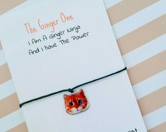Ginger Cat Charm Bracelet, Enamel Cat Wish Bracelet