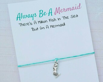 Mermaid Charm Bracelet, Always Be A Mermaid Wish Bracelet