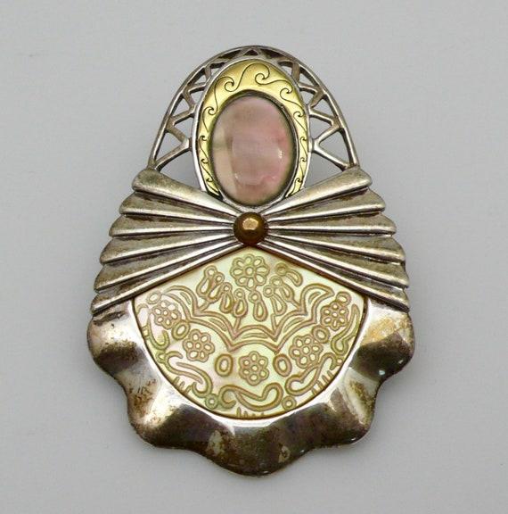 Vintage Native American Sterling Silver, Brass, Mother of Pearl, Moon Stone Cradleboard Slider Pendant