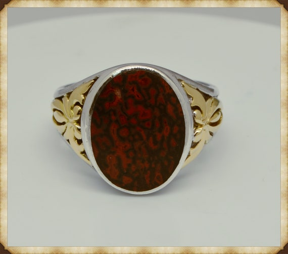 Vintage John Bagley 18k Yellow Gold & Sterling Silver Red Plume Agate Ring Size 10