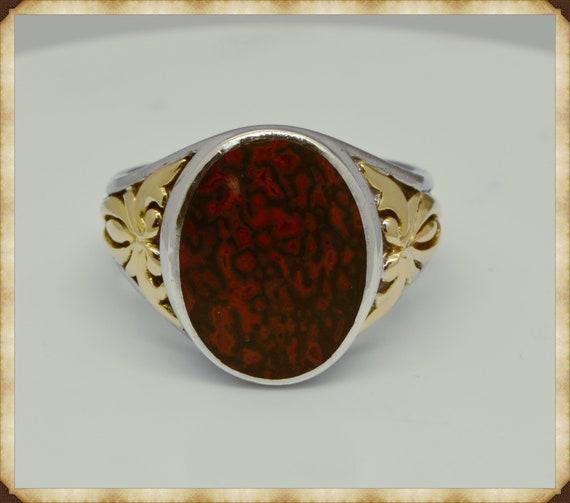 Vintage John Bagley 18k Yellow Gold & Sterling Silver Red Dinosaur Bone Ring Size 10