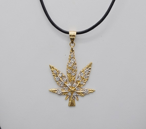 14kt Yellow Gold Marijuana Cannabis Leaf Pendant with CZ's