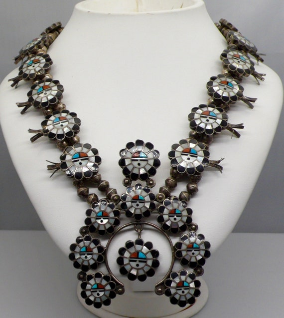 Vintage Zuni Squash Blossom Onyx, Mother of Pearl, Turquoise, Coral Mosaic Squash Blossom with Naja by Sadie & Morris Laahte,