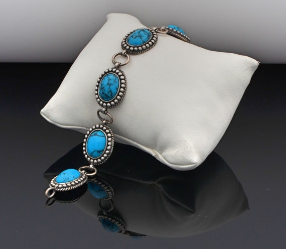 Vintage Sterling Silver with 6 Turquoise Cabochon's Lady's Bracelet by HAN