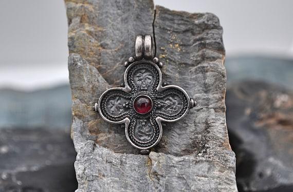 Rare! Krissos Greece 925 Religious Cross Pendant set with a Deep Red Garnet Cabochon Gemstone
