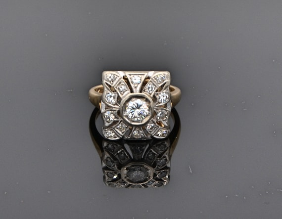 Antique 14kt Yellow Old European Mine Cut Square Top Diamond Cluster Woman's Ring