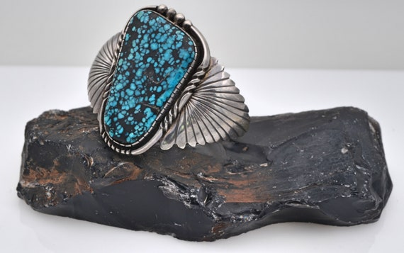 Vintage large Spider Web Turquoise in Sterling Silver Native American Cuff Bracelet