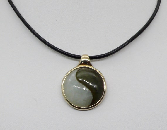 Vintage 14kt Yellow Gold Yin Yang White & Green Jade in Gold Bezel Pendant