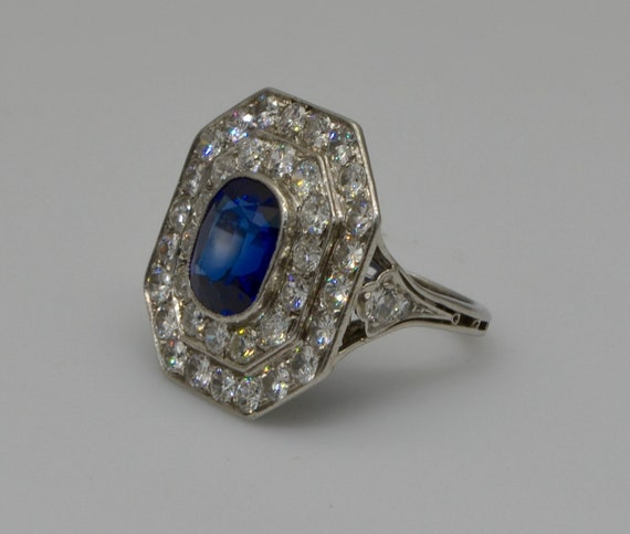 Antique Art-Deco Platinum Dinner Ring Featuring Blue Quartz with 1.8 Carats of Round European Old Mine Cut Diamonds