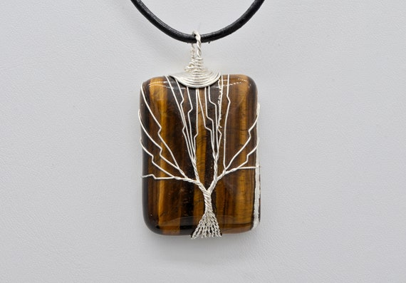 Tree of Life Nickel Silver Wire Wrapped Large Tigers Eye Pendant