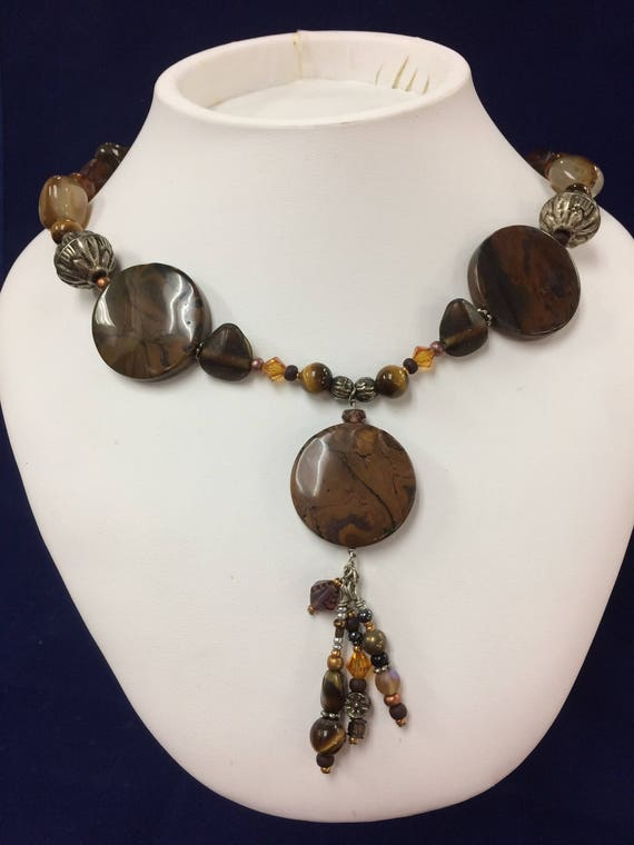 Large Brown Agate and Beaded Gemstone Statement Necklace