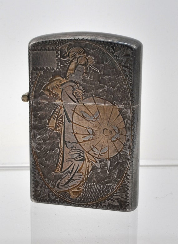 Very Rare 1950's Japanese Sterling Silver & Gold Plated Geisha Motif Zippo Style Lighter
