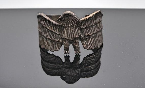 Unique Primitive Silver Eagle Cuff Bracelet Hallmarkes (signed) See Pictures