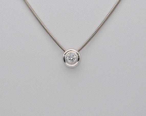 Natural VS Clarity .33ct Round Diamond Slider 14kt White Gold Slider Pendant with White Gold Snake Chain
