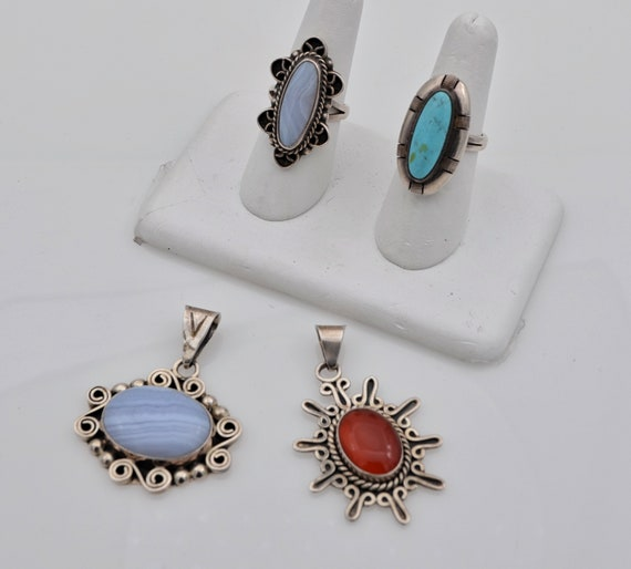 4pc Collection Sterling Silver Mexico CII 2-Pendants & 2-RIngs with Carnelian, Turquoise, Blue Lace Agate