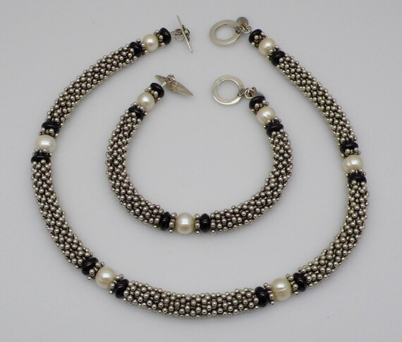 Vintage Lindy Freed Fancy Sterling Silver Beaded Cable Choker Necklace plus Matching Bracelet with White Pearls and Black Onyx Beads