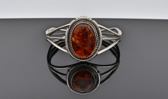 Vintage Native American Sterling Silver Cuff Bracelet with Stunning Large Oval Amber Cabochon