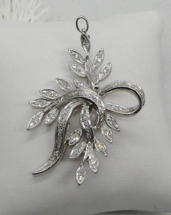 Antique 14kt White Gold w/ .50ctw Diamond Ribbon and Leaf Design Pendant/Pin Brooch by Karbra 63