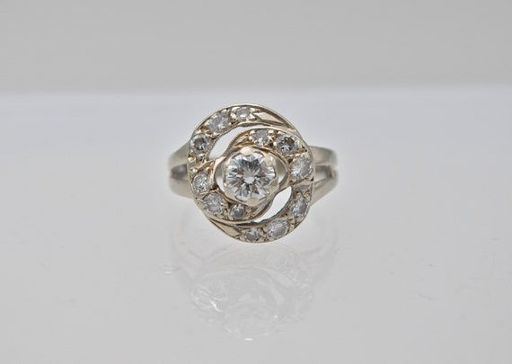 Stunning Retro Era 1940's Vintage 1/2 carat Diamond 14k White Gold Women's Ring - size 4.75 (Sizable)