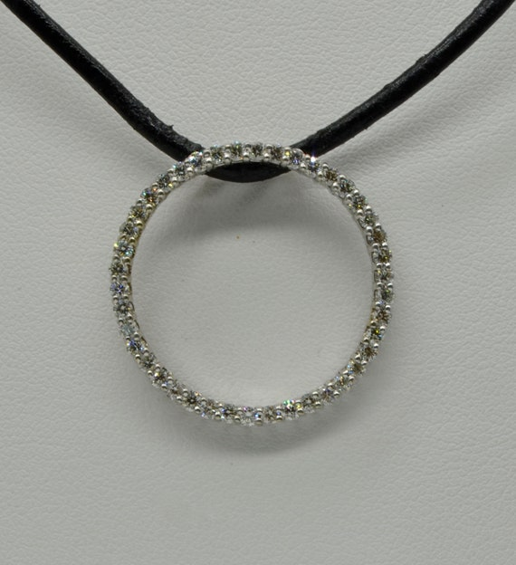 14kt White Gold Diamond Circle Eternity Diamond Slider Pendant
