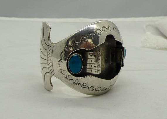 Vintage Lady's Native American Zuni Sterling Silver & Turquoise Watch Cuff Bracelet by Judy Wallace