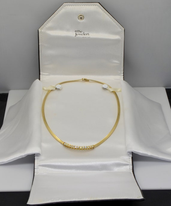 Vintage 1.30 Carats Natural Diamonds, 14kt Yellow Gold Omega Necklace 18 inches