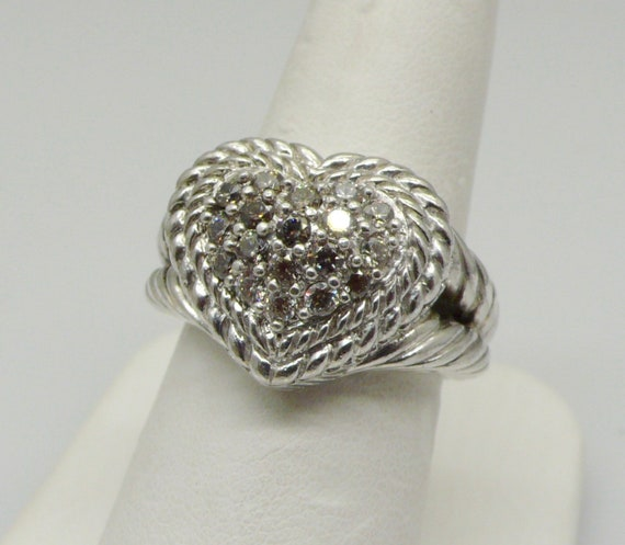 Judith Ripka Retired Sterling Pink Diamonique Pave' Signature Heart Ring