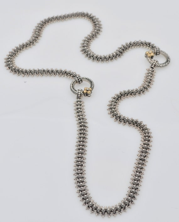 Barbara Bixby Eastern Sterling Silver & 18k Yellow Gold Floral Chain Necklace
