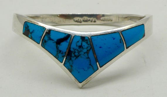 "Vintage Turquoise & Sterling ""V"" or Chevron Design Silver Hinged Bracelet by Mexico TF-49"