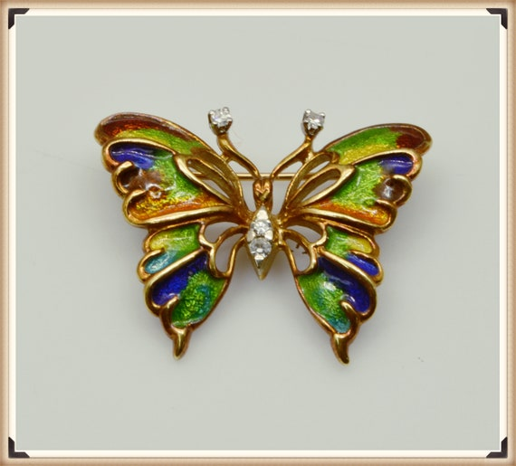 Vintage 14k Yellow Gold, Diamond, and Enamel Butterfly Pin / Brooch