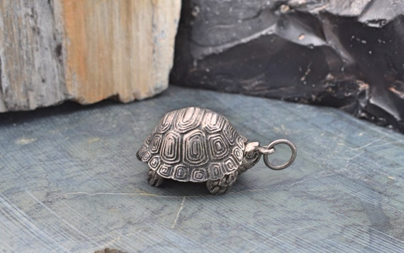 Really Cool Vintage Sterling Silver Tortoise BELL Pendant with Secret Compartment