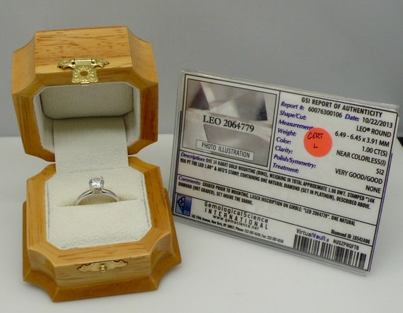 1.00 Carat LEO Round Brilliant Cut Diamond Solitaire 14kt White Gold Engagement Ring SI2 (I) with Certificate