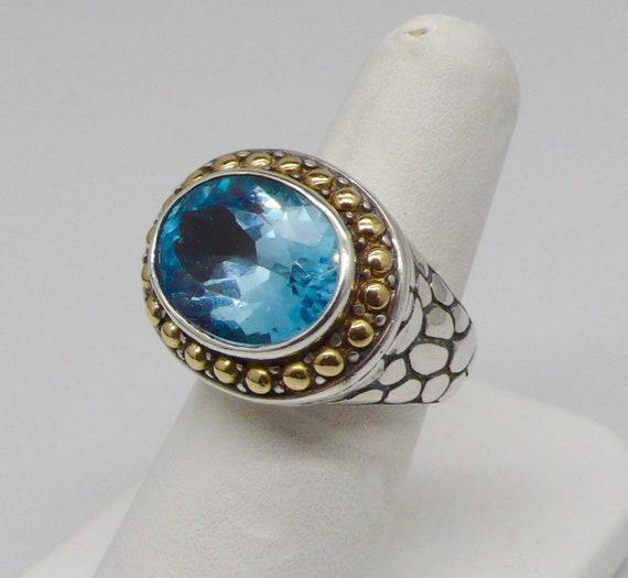 Samuel Benham BJC Vintage 18k & Sterling Topaz Ring