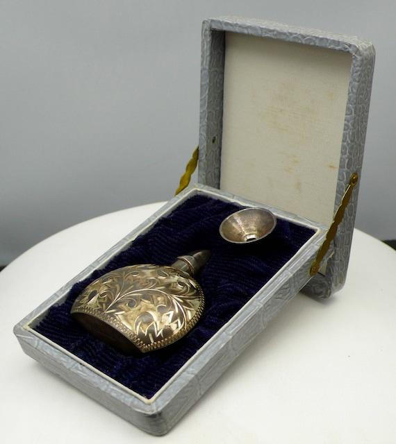 Vintage Antique Sterling Silver Floral Engraved Perfume Bottle with Funnel & Original Box