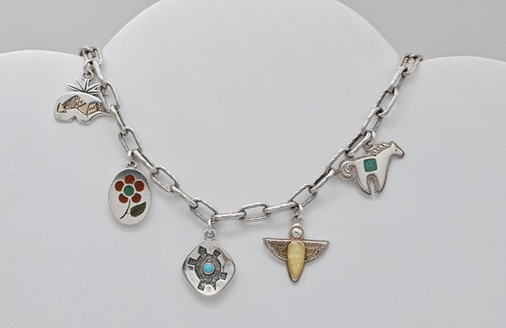 Vintage Native American Relos Jewelry / Carolyn Polack Sterling Silver & 14k Yellow Gold Charm Bracelet