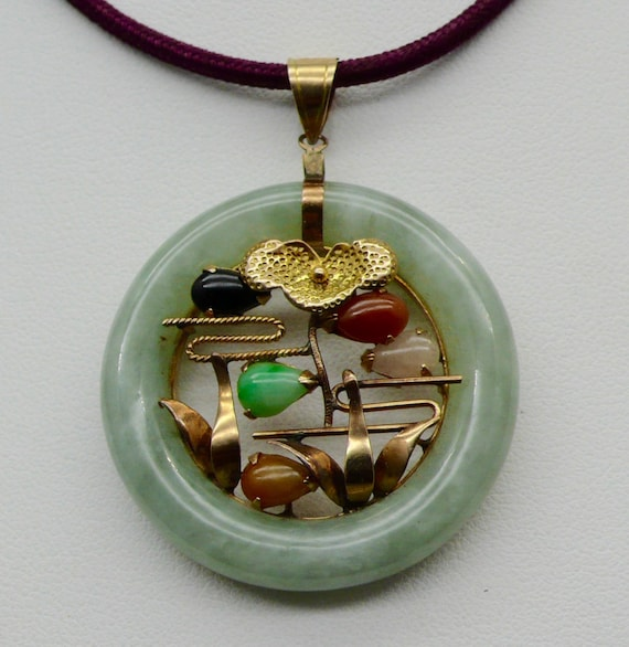 Vintage Asian Circle Jade, Coral, Onyx, 14kt Yellow Gold Estate Orchard Design Pendant