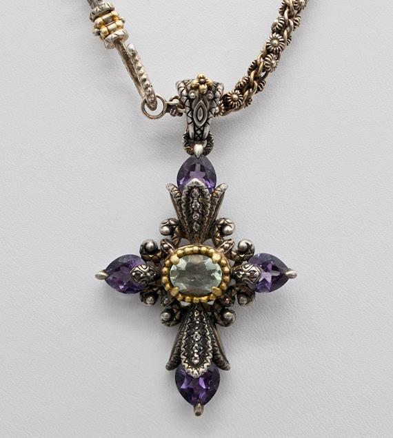 Stunning Gothic Barbara Bixby Sterling Silver, 18kt Yellow , Green Flourite and Amethyst Enhancer Cross Pendant