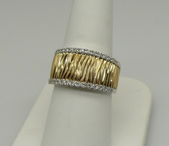 Vintage Tiger Stripe 14kt Yellow & White Gold Ring Band with Diamonds