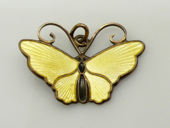 Vintage Sterling Silver David Andersen Norway Enamel Bright Yellow Butterfly Pendant